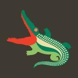 Färgrik krokodil med den öppna munnen Arkivfoton