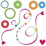 Färgrik krullning och hjärtaprydnader stock illustrationer