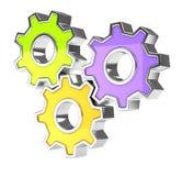 färgrik kugghjulsymbol royaltyfri illustrationer