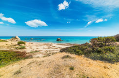 Färgrik kust i den Scoglio di Peppino kusten Arkivfoto