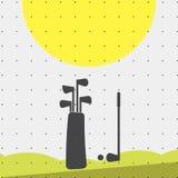 Färgrik lägenhet för sportaffisch-stil minimalism för kommersiella websites Attributen av den golfpåsen, puttern och bollen vekto vektor illustrationer