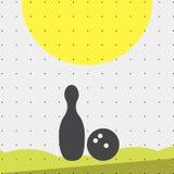 Färgrik lägenhet för sportaffisch-stil minimalism för kommersiella websites Attributen för bowlingklotet och benet vektor vektor illustrationer