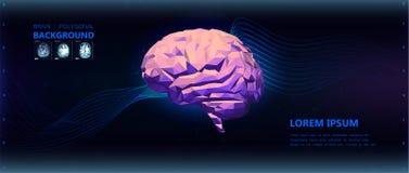 Färgrik låg poly illustration för hjärna för sidosikt Bakgrund stock illustrationer