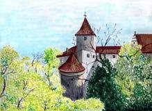färgrik landmark Medeltida slottillustration Pittoreskt konstverk Markörer skissar Prague Chezh republik Arkivbilder