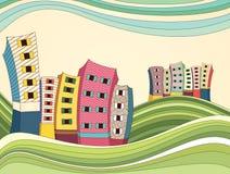 Färgrik landskapvektorillustration royaltyfri illustrationer