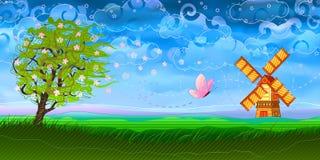 färgrik liggandeherdabrev stock illustrationer