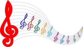 Färgrik linje bakgrund för vit för symbol för musik för pentagram för illustrationbeståndsdelfärg stock illustrationer