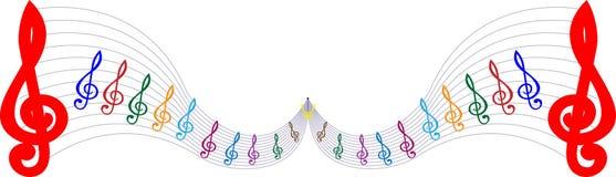 Färgrik linje bakgrund för vit för symbol för musik för pentagram för illustrationbeståndsdelfärg vektor illustrationer