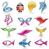 Färgrik linje konstdjursymboler stock illustrationer