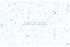 Färgrik linje rundavektorillustration för Blockchain teknologi på stock illustrationer