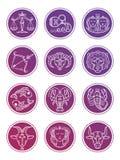 Färgrik linje symboler som för zodiakvektorastrologi isoleras på vit vektor illustrationer