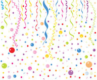 Färgrik liten ballong-, konfetti- och bandvektor Royaltyfri Bild