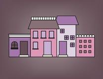 Färgrik liten stad Arkivfoto