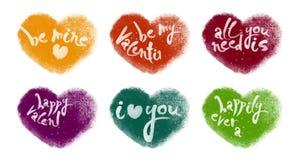 Färgrik livlig hjärtauppsättning med att märka för valentin arkivfilmer