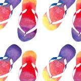 Färgrik ljus älskvärd komfortsommarmodell av vattenfärgen för misslyckanden för flip för strandguling den orange rosa röda blåa p stock illustrationer