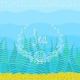 Färgrik ljus bakgrund på havstema Rolig ram som hand-dras för din text Royaltyfri Illustrationer