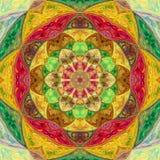 Färgrik ljus illustrerad blom- mandala för tegelplatta Royaltyfri Foto