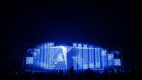 Färgrik ljus show på julhuvudstad av Europa Torrejon de Ardiz i Madrid, Spanien royaltyfri foto
