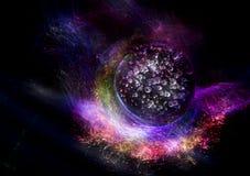 Färgrik ljusbakgrund med galaxen och planeten royaltyfri bild