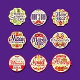 Färgrik logo- eller etikettuppsättning för den retro designen för ferie, festliga klistermärkear med hälsningar Glad jul, nytt år royaltyfri illustrationer