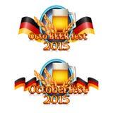 Färgrik logo för vykort och hälsningar med Oktoberfest Royaltyfria Bilder