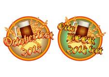 Färgrik logo för vykort och hälsningar med Oktoberfest Arkivfoton