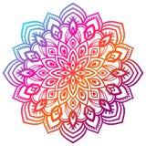 Färgrik lutningblommamandala dekorativ tecknad elementhand Blom- beståndsdel för dekorativt runt klotter stock illustrationer