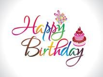 färgrik lycklig text för abstrakt födelsedag Arkivbild