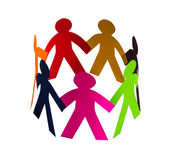 färgrik mänsklig chain cirkel Arkivbild