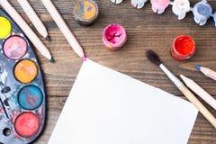 Färgrik målarfärg, gouache, vattenfärg Arkivfoto