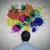 Färgrik målarfärg på väggen Fotografering för Bildbyråer