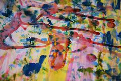 Färgrik målarfärg, rött vitt vax, abstrakt bakgrund för vattenfärg Arkivfoton