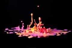 Färgrik målarfärg som plaskar på svart. Arkivfoto