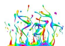 Färgrik målarfärg som plaskar tolkningen 3d Royaltyfri Bild