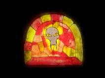 Färgrik målat glass - mytologiskt ont huvud arkivfoto