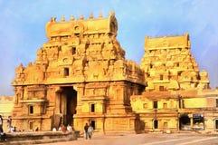 Färgrik målning av den indiska templet fotografering för bildbyråer