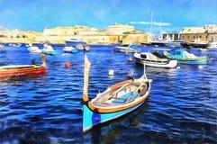 Färgrik målning av fartyg i flotta royaltyfri fotografi