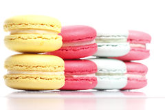 Färgrik Macaron vitbakgrund Arkivbilder
