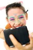färgrik makeup Arkivbilder