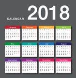 Färgrik mall 2018 för design för vektor för kalenderår Vektor Illustrationer