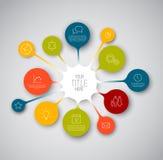 Färgrik mall för Infographic timelinerapport med bubblor Royaltyfri Foto