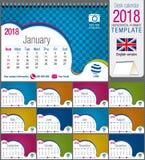 Färgrik mall för skrivbordtriangelkalender 2018 Format: 21 cm x 15 cm Format A5 blå vektor för sky för oklarhetsbildregnbåge royaltyfri illustrationer