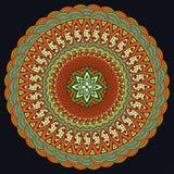 Färgrik Mandala Boho stil, hippiesmycken Rund prydnadmodell dekorativ elementtappning Orientalisk modell, arabiska Arkivfoton