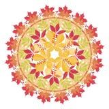 Färgrik mandala med höstsidor och filialer på vit bakgrund Höstbukett Royaltyfri Foto