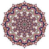 Färgrik mandala på den vita bakgrunden Arkivfoto