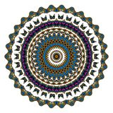 Färgrik mandala på den vita bakgrunden Fotografering för Bildbyråer