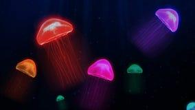 Färgrik manet för sömlös animering i undervattens- bakgrundsmodell för djupt hav i fantasiflottabegrepp royaltyfri illustrationer