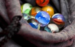 färgrik marmor för bollar Arkivbilder