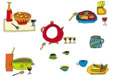 färgrik mat vektor illustrationer