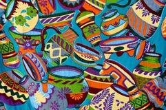 färgrik mayan modellvase arkivfoto